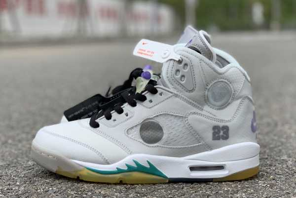 Cheap 2020 New OFF-WHITE x Air Jordan 5 Grey/Green-White CT8480-105 For Sale